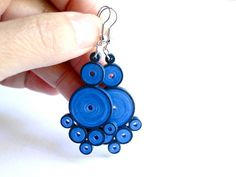 Handmade Colorful Blue Earrings / Quilled by SimplyQuilledDesigns, $25.00