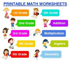 FREE Printable Math Worksheets for Grades Elementary - High School. Supplement or Free Homeschool Curriculum.