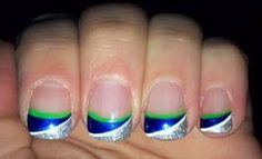 seahawk acrylic nails - Google Search