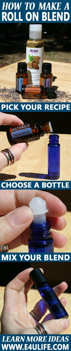 How to Make: Essential Oil Roll On Blends. The Art of the Roll On Remedy  Step One: Choose a Roller Bottle  When blending essential oils it is best to always choose a bottle with tinted glass. Oils deteriorate and oxidize over time when exposed to light. So avoid clear glass bottles, or bottles that have been painted. Always pick tinted glass bottles. For a convenient travel size roller choose a 10ml or 1/3 ounce Roll On Bottle.