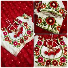 Thread work embroidery To order plz WhatsApp on 9703713779 Embroidery Works, Hand Embroidery, Embroidery Designs, Sari Blouse Designs, Designer Blouse Patterns, White Saree Blouse, Hand Work Design, Modern Saree, Thread Work
