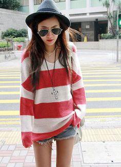 Street Fashion V Neck Red Stripe Junior Sweaters
