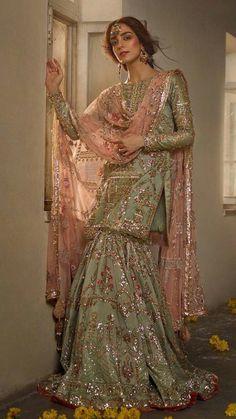 """Maya Ali Poses for """"Ghar Nari"""" Bridal Collection – The Odd Onee Walima Dress, Shadi Dresses, Pakistani Formal Dresses, Pakistani Wedding Outfits, Pakistani Dress Design, Bridal Outfits, Pakistani Gharara, Pakistani Mehndi Dress, Sharara Designs"""