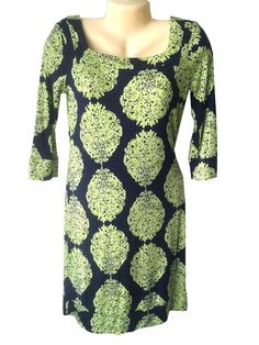 Lilly Pulitzer Size 4 Dress Navy Blue Newport Silk Green Medallion Damask Print #LillyPulitzer #Sheath #Casual