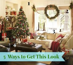 DIY Home Decor | Wanna get the Pottery Barn look for less? Check out links to five DIY tutorials to help you get the look of this lovely Christmas family room!