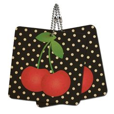 Cherries on Polka Dots Wood MDF 4' x 4' Mini Signs Gift Tags *** Continue to the product at the image link.