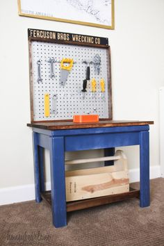 Kids Workbench from Old Table - HoneyBear Lane  upcycling. recycling table and pegboard. knock-off workbench #kid furniture