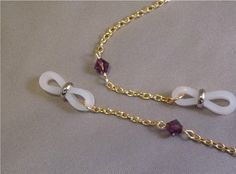 Gold Tone Eyeglass Chain with Purple by ShadowCutterJewelry, $19.00