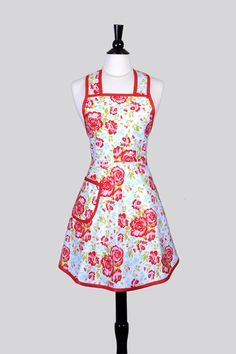 Womans Vintage Bib Apron - Cute Retro Red and Turquoise Floral with Over the Head Fitting Feminine Full Coverage Cooking Woman Apron by CreativeChics on Etsy