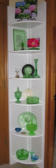 Corner shelf from shutters! Also love the green depression glass!