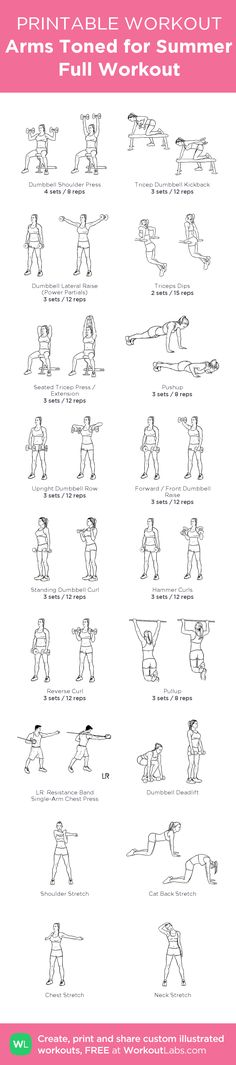With 6 Triceps amp;shoulders workouts, ed by 6 Biceps amp;Back workouts, this makes a full upper body workout routines, at home or at the Gym ! my custom printable workout by WorkoutLabs by Valentina Guerin Full Upper Body Workout, Upper Body Workout Routine, Leg Day Workouts, Back Exercises, Fitness Workouts, Workout Routines, At Home Workouts, Fat Workout, Triceps Workout