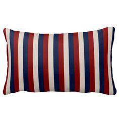 Red White and Blue Leather Stripes Lumbar Pillow #zazzle #pillows #redwhiteblue #stripes