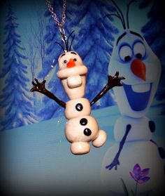 Frozen Olaf Themed Snowman Polymer Clay Charm by Christalinasales, $25.00