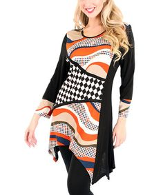 Loving this Black & Orange Harlequin Sidetail Tunic on #zulily! #zulilyfinds