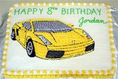 Lamborghini Cake Happy 8th Birthday, 9th Birthday Parties, Birthday Cakes For Men, Boy Birthday, Lamborghini Cake, Jake Cake, Cartoon Cookie, Race Party, Jordan
