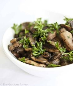 Once you try these Clean Eating Sautéed Garlic Mushrooms, you'll never want to eat them any other way! Enjoy more clean recipes at TheGraciousPantry.com.