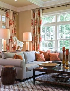 Awesome Cream Living Room With Blue Gray, Rich Brown And Rust Red.like The Color  Combo. Nice Look