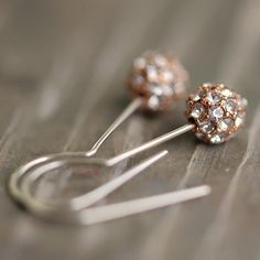 Rose gold pave beaded earrings