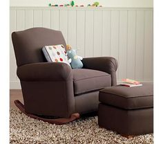 Adult Seating: Chocolate Brown Upholstered Rocking Nursery Chair in Upholstered Seating