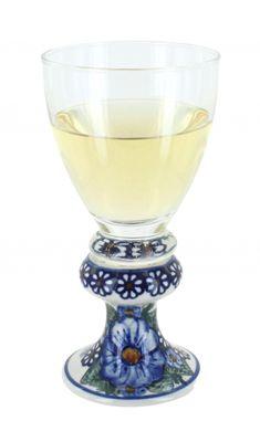 Clementine Wine Glass Blue And White Dinnerware, Polish Pottery, Hand Painted Ceramics, Wines, Stoneware, Wine Glass, Cobalt, Glasses, Hand Painted Pottery