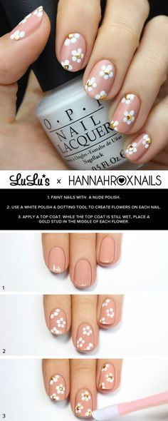 Pink and White Flower Nail Tutorial at LuLus.com! #nailart