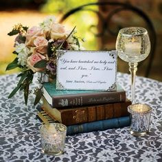 New Ideas For Wedding Table Themes Book Centerpieces Book Wedding Centerpieces, Non Floral Centerpieces, Wedding Table Themes, Centerpiece Ideas, Wedding Ideas, Floral Arrangements, Vintage Centerpiece Wedding, Wedding Venues, Candle Centerpieces