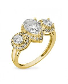 Coronet - 2.25ctw Pear Shape Moissanite Ring 14k White or Yellow Gold