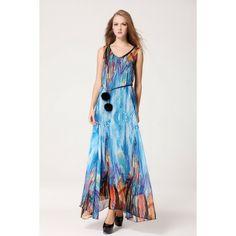 Vestido Lady Blue Vestido longo em tecido Chiffon com manga curta em linda estampa em desenho abstrato.  R$ 97,00  #vestidolongo #lojaoziris #moda #verao2014 #modafeminina #vestidoazul #vestidoestampado #vestidochiffon