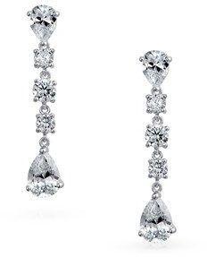 Bling Jewelry Bridal Round Teardrop Cz Sterling Silver Chandelier Earrings.