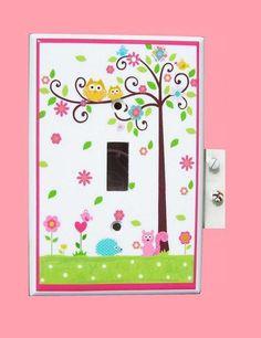 Happi Tree Owl By Dena   Dena Happi Swirl tree owl switch plate single by PATRINASPLACE