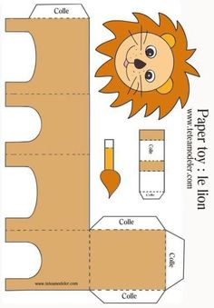 Paper toy lion to print on a modeling head Preschool Crafts, Diy And Crafts, Crafts For Kids, 3d Paper Crafts, Paper Toys, Jungle Theme Birthday, Paper Animals, Safari Party, Bible Crafts