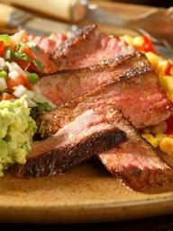 Skillet-Roasted Strip Steaks with Pebre Sauce & Avocado | KitchenDaily.com