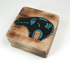 Pine smudge sage box with medicine Zuni bear Native American Religion, Native American Totem, Native American Symbols, Navajo Art, Bear Silhouette, Haida Art, Southwestern Art, Native Design, Gourd Art