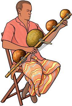 アフリカの弦楽器:ムベトの演奏 / African instrument : mvet