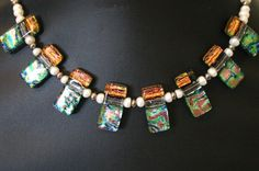 Your place to buy and sell all things handmade Dichroic Glass, Fused Glass, Glass Jewelry, Glass Beads, How To Make Beads, Collar Necklace, Fresh Water, Different Colors, Chokers