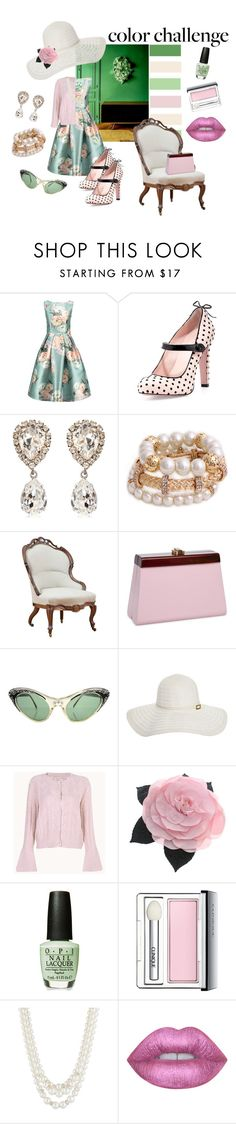 """""""I'm blushing green!"""" by pennylanefashion ❤ liked on Polyvore featuring RED Valentino, Dolce&Gabbana, Melissa Odabash, Chanel, Clinique, Anne Klein, Lime Crime, colorchallenge and greenandblush"""