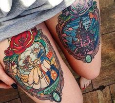 Disney Beauty and the Beast Tattoo - this is just gorgeous in full color! Tattoo Idea Inspiration