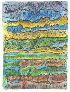 """""""Relieve"""", Ingrid Roddick, (2014) series of invented maps, drawn, painted and embroidered on paper, 42x31 cm"""