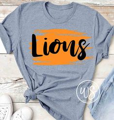 Grunge Brush Highlighter with Lions School Spirit Wear, School Spirit Shirts, School Shirts, Teacher Shirts, Cheer Shirts, Dance Shirts, Team Shirts, Sports Shirts, Cheer Pics
