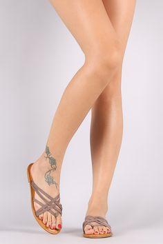 Suede Strappy Thong Flat Sandal   UrbanOG