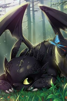 This is beautiful! Toothless with a blue butterfly.