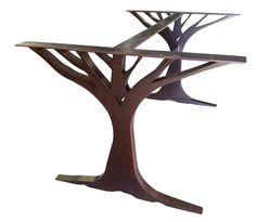 """Listed here is our made-to-order """"Oak Tree"""" metal table base. This incredibly unique design goes great with many design styles. Tree Table, Oak Table, Dining Table, Table Bases, Trestle Tables, Console Table, Wine Display, Bottle Display, Iron Table Legs"""