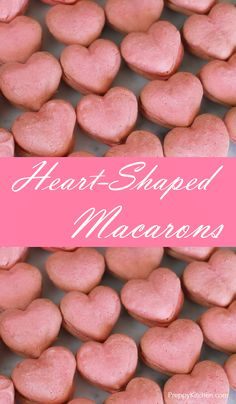 Heart-Shaped Macarons via /preppykitchen/ Desserts To Make, Best Dessert Recipes, Holiday Recipes, Delicious Desserts, Baking Recipes, Cookie Recipes, Fast Recipes, Macarons, Valentines Day Treats