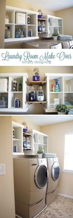 Laundry Room Make-Over - this simple hack added so much storage and a beautiful new look to my laundry room   Simply Designing