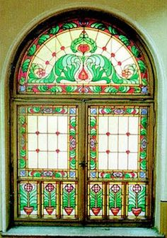 Art Nouveau stained glass in Oradea Stained Glass Art, Stained Glass Windows, Art Nouveau, Ceramic Tile Art, Koloman Moser, Window Design, Windows And Doors, Stairways, Ramen