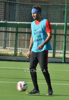 Ranbir Kapoor playing football in Mumbai. via Voompla.com