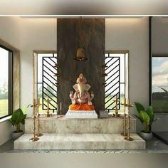 Temple Design For Home, Home Temple, Interior Ceiling Design, Interior Design Photos, Buddha Statue Home, Wooden Sofa Designs, Pooja Room Door Design, Apartment Balcony Decorating, Puja Room