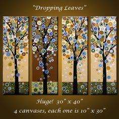 """Abstract Tree Art Painting Original Large Abstract Modern ... 40 x 30, 4 paintings .. """"Dropping Leaves"""", by Amy Giacomelli"""