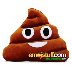 """Officially known as the """"Pile of Poo"""" emoji, we bring you the the (in)famous poop emoji pillow! Comes with a matching 1"""" pin!<b>In stock, get em while they're hot!</b>"""