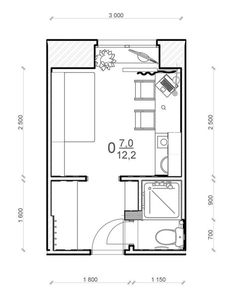 12 квадратных метров в Братске - SMART&MINI. Квартира до 30 кв. метров | PINWIN - конкурсы для архитекторов, дизайнеров, декораторов Shed To Tiny House, Tiny House Cabin, Small House Plans, House Floor Plans, Lofts, Loft Bed Plans, Casas Containers, Hotel Room Design, Student House